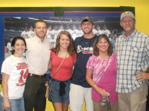 Stevie, Dan, Lori, Brent, Lisa, and Don at Turner Field on Bobby Cox night, 2011