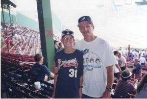 Don and Brent at Fenway, 1997