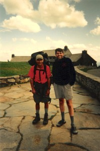 Thru Hiker Junior from Maine and Don's Brother at Bascom Lodge on Mt. Greylock in Massachusetts, 2004